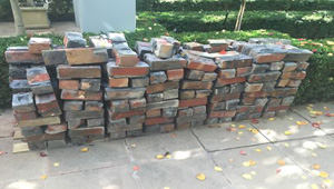 red and blue clinker bricks